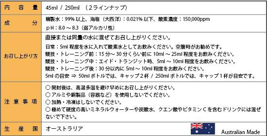 【成   分】 精製水:99.9%以上、海塩(大西洋):0.021%以下、酸素濃度150,000ppm 【おすすめの飲み方】 ・普段の生活時は、空腹時5mL をおすすめします。 ・競技(トレーニング)15~30分前、10~15mL ・競技(トレーニング)中、5mL ・競技(トレーニング)後、5mL(30分以内) 直接または水に入れて酸素水としてお飲みください。 空腹時がおすすめです。 【注 意 事 項】 ・開封後は高温多湿を避け、早めにお召し上がりください。   ・アルミや銅製品(容器など)を使用しないでください。   ・加熱・冷凍はしないでください。 ・極めて硬度の高いミネラルウォーターや炭酸水に混ぜないでください。 ・炭酸水・クエン酸ドリンク、ビタミンCドリンク等には混ぜないでください。 【製 産 国】 オーストラリア